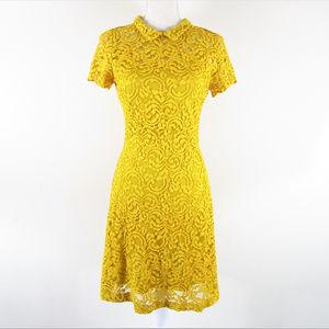 Zara Basic Collection Mustard Lace Overlay Dress